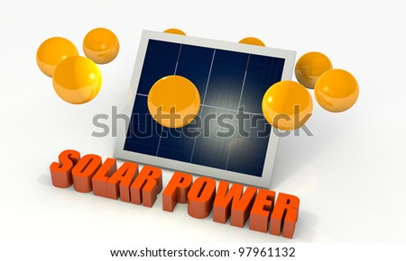 Solar energy image with photovoltaic panel