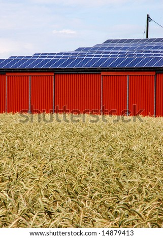 Solar energy panel on a rural building