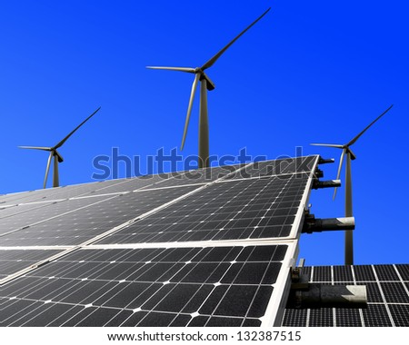 Solar Energy Panels And Wind Turbine Stock Photo 132387515 ...