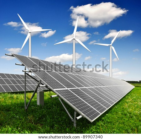 solar energy panels and wind turbine