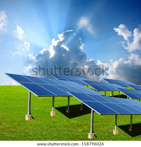 Solar energy panels in the green