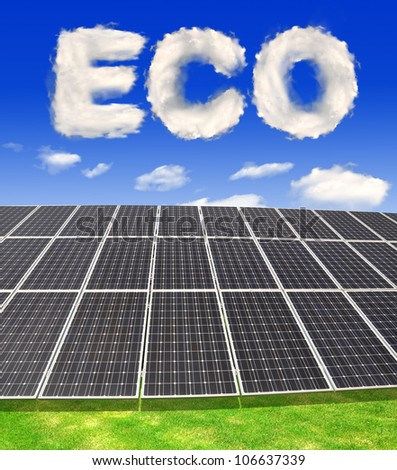 Solar energy panels with eco from clouds