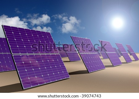 Solar energy power plant - stock photo
