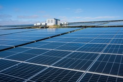Solar energy. solar power plant produces sustainable electricity and renewable energy.