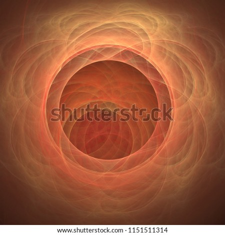 Solar Exhuberance - Abstract illustration / fractal flame. Features several concentric circles from which countless curved lines emerge.