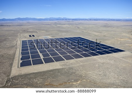 Solar farm in the middle of a vast North American Desert.