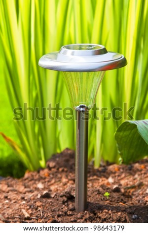Solar garden light in the home garden.