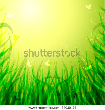 Solar grass with flowers and butterflies.