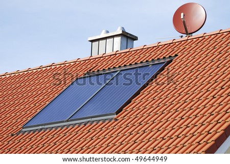 Solar heating system on the roof of a house