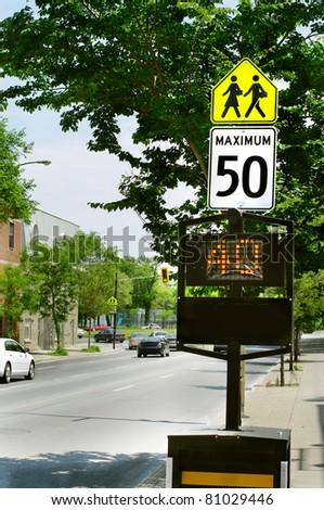 solar LED light community safety warning sign. driving speed danger  school children crossing control.