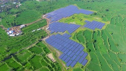 solar panel aerial view on sulawesi indonesia