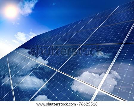 Solar panel against blue sky - free sun energy.