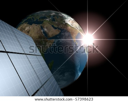 Solar panel against Earth with sunrise. Concept - echo energy.