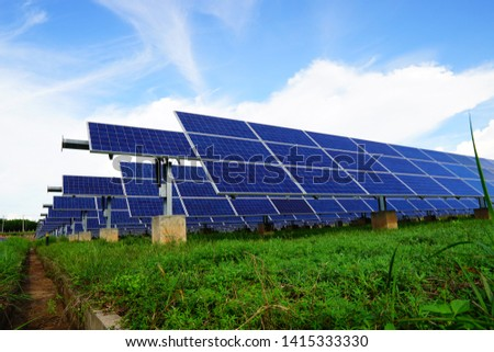 Solar panel, alternative electricity source, concept of sustainable resources, And this is a new system that can generate electricity more than the original, This's the sun tracking systems. #1415333330