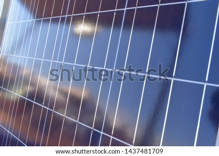 Solar panel. Alternative energy source, concept of sustainable resources, generate green electricity. Sun electricity systems. Arrangement of solar energy production plant.