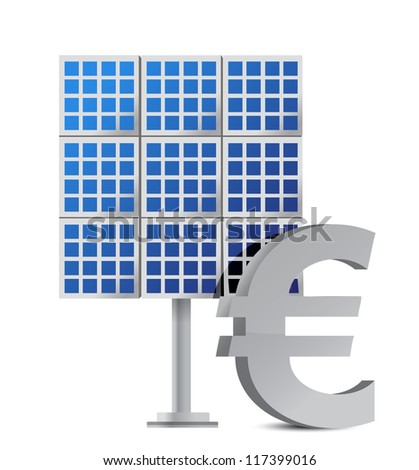 solar panel and euro sign illustration design