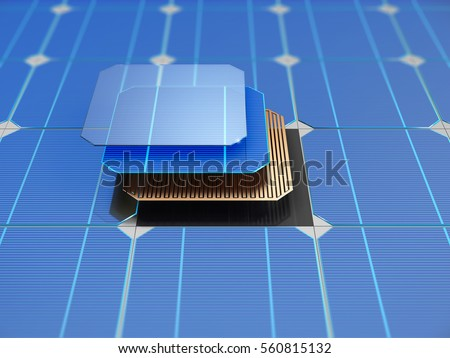 Solar panel and schematic 3D illustration internal structure of the module.