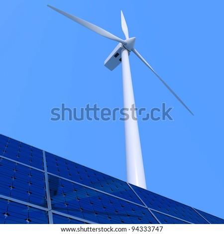 Solar panel and wind turbine on blue background