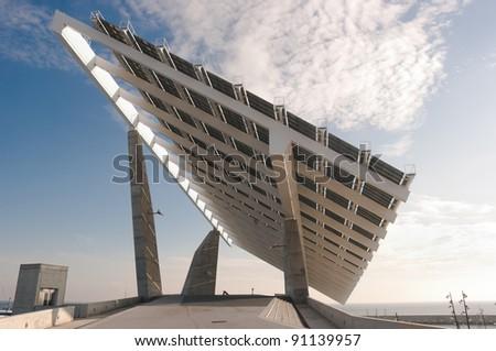 solar panel at the twilight
