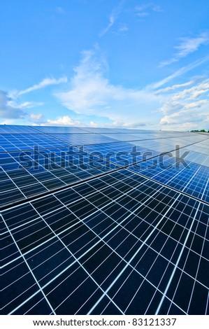 solar panel below blue sky