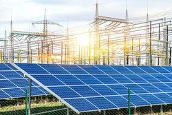 Solar panel  . energy of the sun  . solar power station .