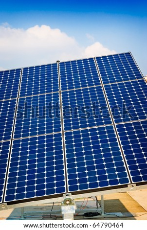 Solar panel energy, sun power, photovoltaic industry