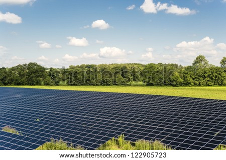 Solar Panel field in Bavaria Germany with blue sky and clouds