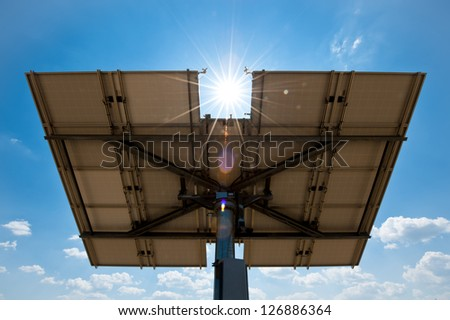 Solar Panel from Behind with Sun shining on it