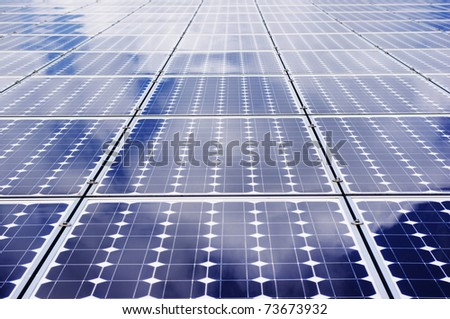 Solar panel frontal view. - Clean, green energy.