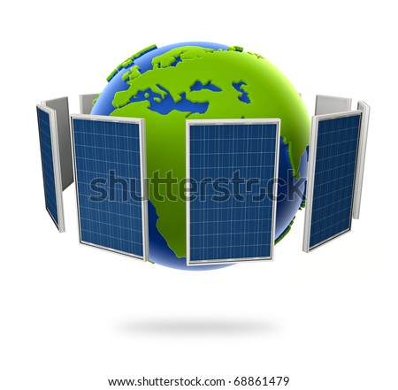Solar panel. Green energy from the sun. Globe earth in photovoltaic style. - stock photo