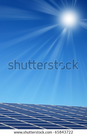 solar panel illuminated by the sun