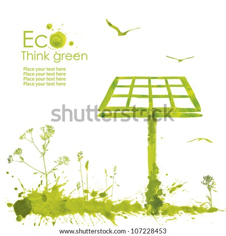 Solar panel.Illustration environmentally friendly planet from watercolor stains,isolated on a white background. Think Green. Ecology Concept.