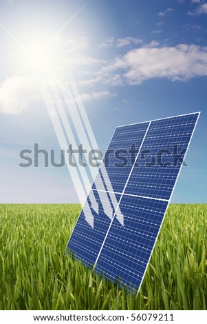 solar panel in grass field illustration with arrows that signs the sun energy