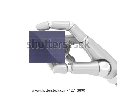 Solar panel in hand of robot on white background