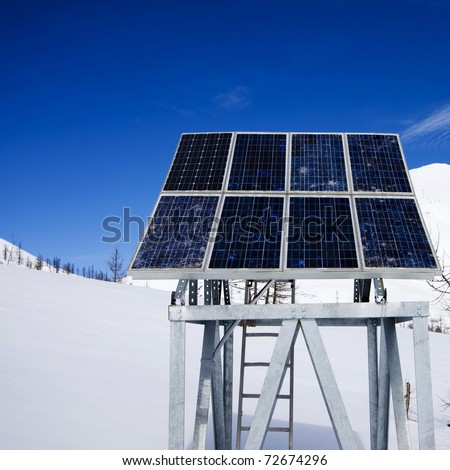 solar panel in the mountains