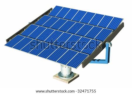 Solar panel in white - stock photo