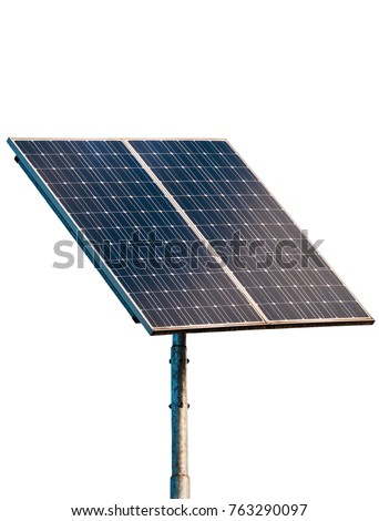 Solar panel isolated on white background, closeup #763290097