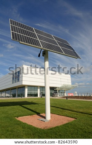 Solar panel near an office building