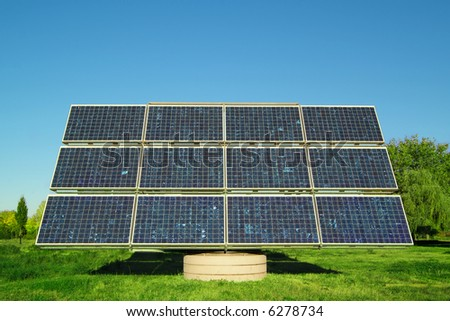 solar panel on a green field