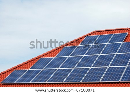 Solar panel on a old roof