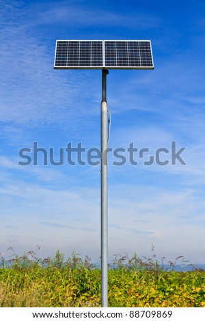 Solar Panel on green meadow (blue sky)