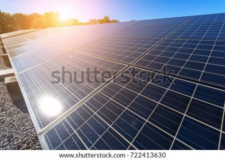 solar panel on sky sunset background.