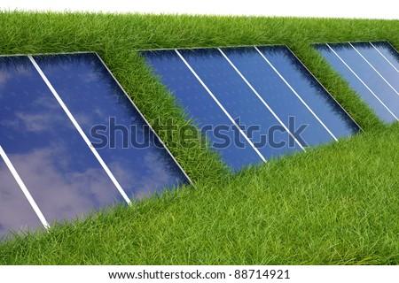 solar panel on the green grass. - stock photo