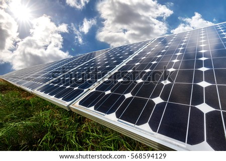Solar panel, photovoltaic, alternative electricity source - selective focus, copy space #568594129