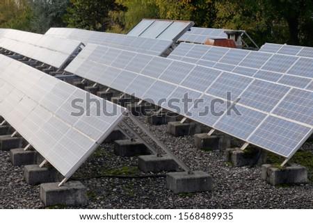 Solar Panel - Photovoltaic. Panels placed on concrete blocks.