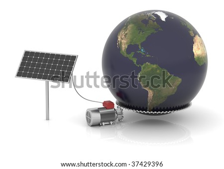Solar panel produces electrical energy and moves the world. Map come from http://visibleearth.nasa.gov