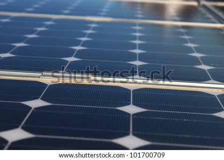 Solar panel renewable eco energy field - stock photo