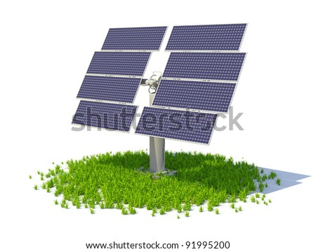 Solar panel standing on a grass forming circle, isolated on a white background