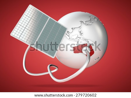 Solar panel supplies power from the sun to Australia. Concept for green power sources and energy supply to the world.