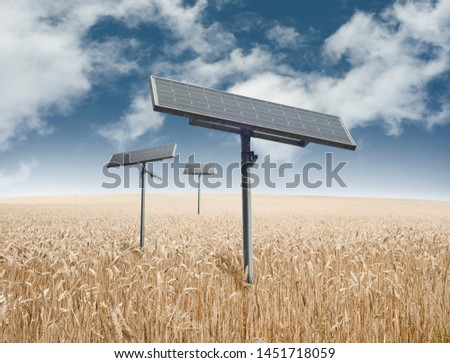 Solar panel,Three solar panels in the field .Good weather. Single solar panel provides free energy.Good for environment. Electricity alternative electricity source concept of sustainable resources